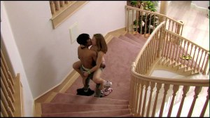 kissing in middle of stair movie scene