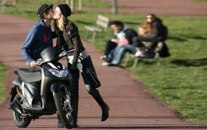 kissing on the motorcycle
