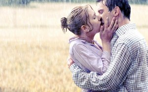 kissing with lips under rain