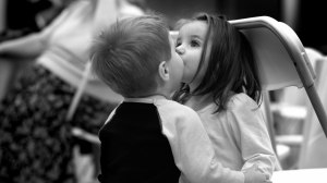 little child kiss in the lips