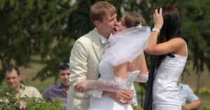 bride get kissed by maiac guy