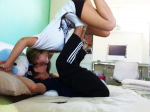 kissed upside down crazy couple
